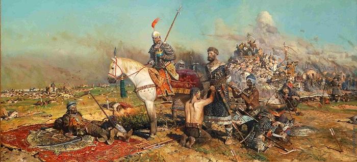 Монголы дарили своему хану русских пленников. Картина Павла Рыженко «Битва на Калке».