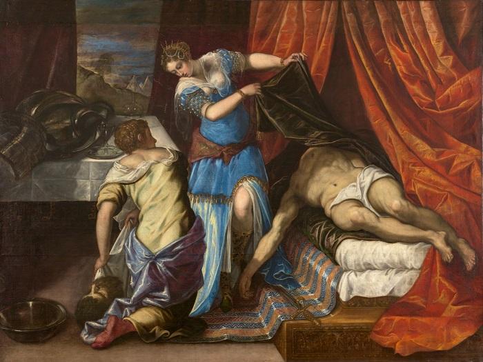 Человеку со слабыми нервами лучше не гуглить картины с Юдифью и Олоферном, а насладиться этой довольно сдержанной версией от Якопа Тиноретто.