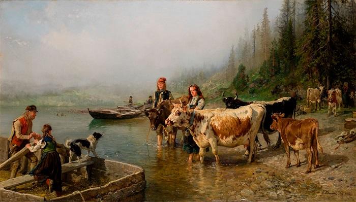 Торговля с поморами порой очень выручала норвежцев. Картина Ханса Даля.