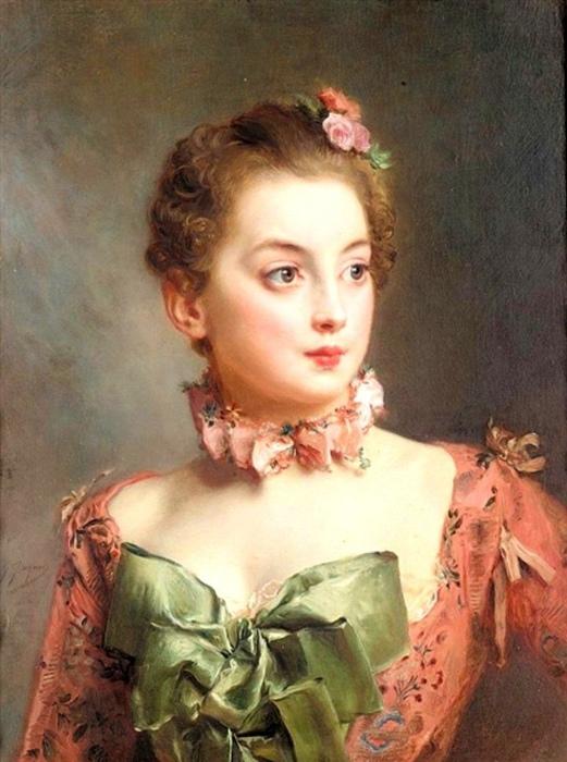 Модницы, которые хотели пощеголять декольтированным платьем и притом сохранить скромность, прикрывали вырез на груди бантами, рюшами и косынками. Женский портрет кисти Жана Жаке Гюстава.
