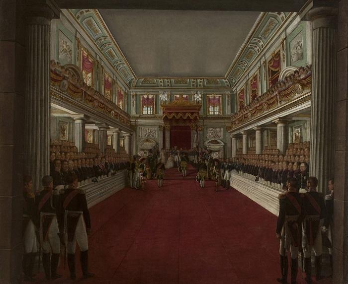 Коронация Николаем I своей жены в Варшаве. Картина Антония Бродовского.