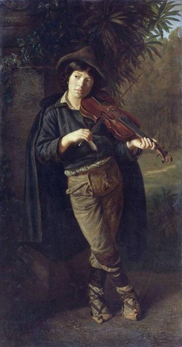 В Италии музыкант мог получать очень хорошие деньги, но и играть он должен был очень хорошо: слух у зрителей был идеальный, и конкурентов хватало. Картина Павла Петровича Чистякова.