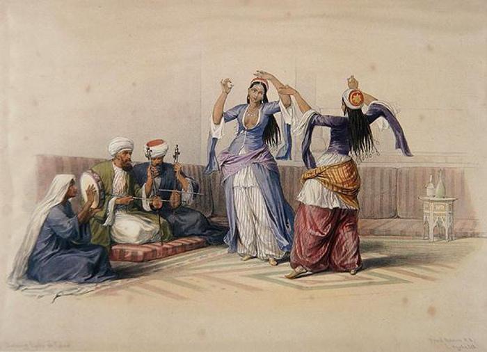 Рисунок Дэвида Робертса изображает египетский танец.