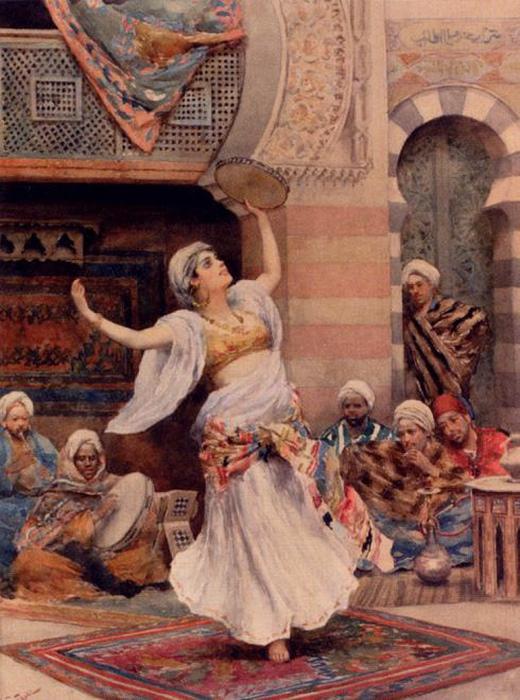 Бубен — ещё один традиционный спутник восточной танцовщицы. Картина Фабио Фаби.