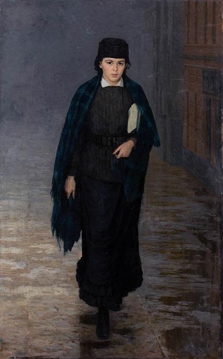 Ещё одна курсистка Ярошенко. Критики находили изображённую девушку мрачной, воинственной, мужеподобной.