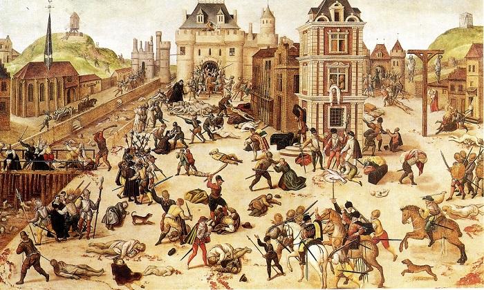 Изображение Варфоломеевской ночи от Франсуа Дюбуа. Протестанты и католики после каждой массовой резни обвиняли друг друга в осквернении трупов вплоть до отрезания частей для дальнейшего поедания.