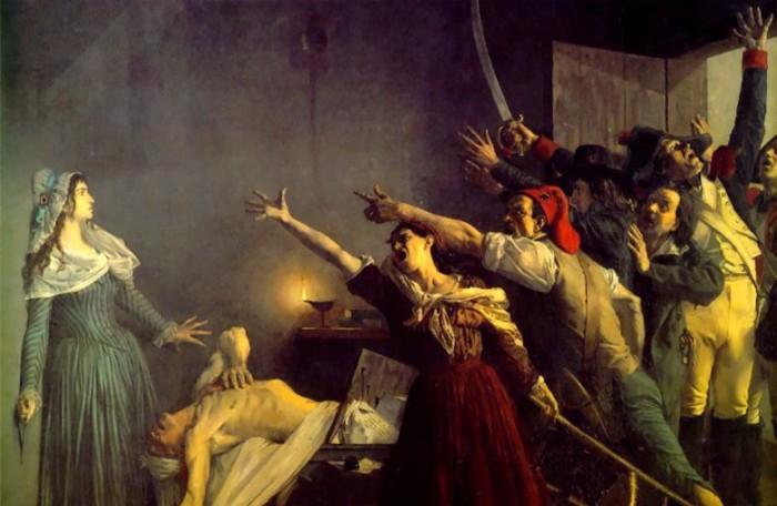 Одно из многих убийств Революции - лидера революционеров Марата заколола ножом дворянка Корде