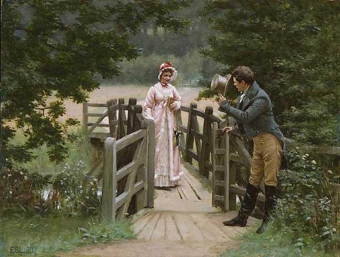 Если женщина шла одна, мужчина обязательно кланялся. Если с кем-то ещё, ждал её разрешения. Картина Эдмунда Блэра Лейтона.