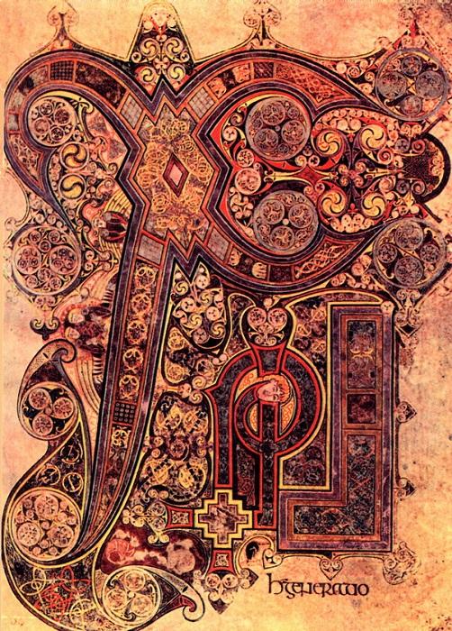 Миниатюра из ирландской книги.