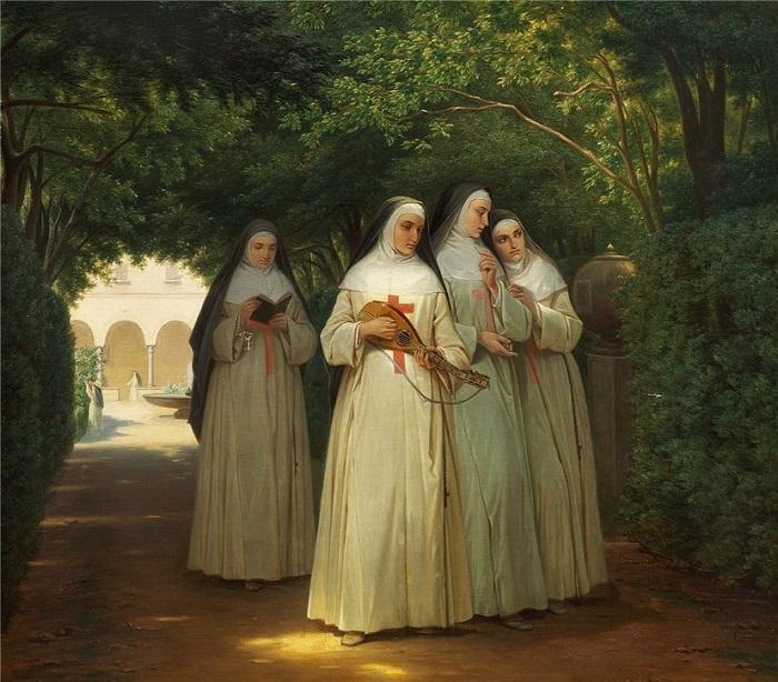Прогулка по монастырскому саду привела монахинь в безумие. Картина Йоргена Зонне.