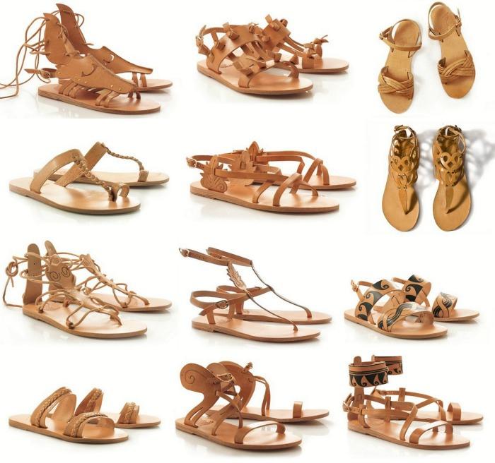 Модели женских сандалий в Древней Греции.
