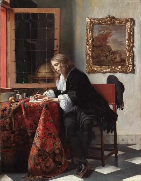 Писать фальшивые любовные письма считалось издевательством задолго до двадцатого века. Картина Габриэля Метсю.
