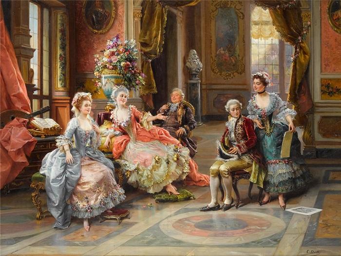 Дамы Галантного века охотно показывали декольте, и капельки пота, как считалось, его не портили. Картина Чезаре Детти.