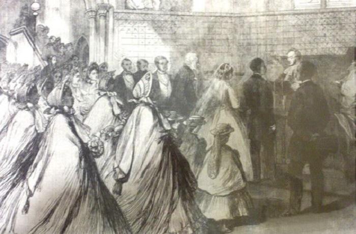 Свадьба Сары Форбс Бонетты и Джеймса Дэвиса, старинный газетный рисунок.