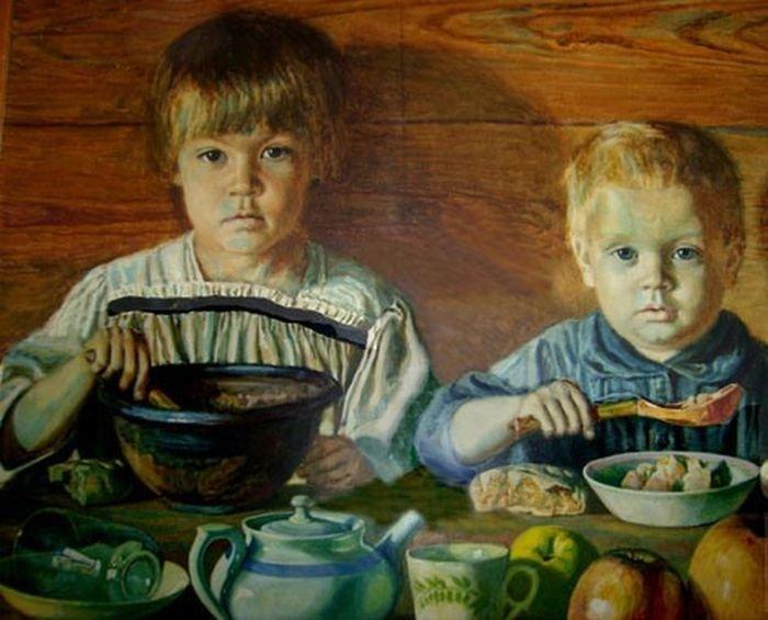 Дети двадцатых годов на картине Михаила Климентова, дяди детей.