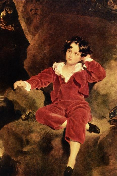 Картина Чарльза Уильяма Лэмтона. Портрет мальчика в костюме по моде эпохи, на которую пришлось детство Ахилла Паганини.