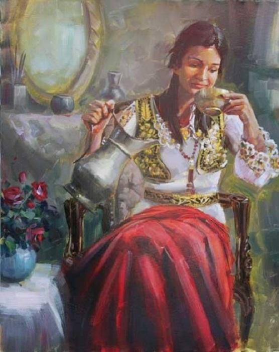 Гадание по кофейной гуще очень популярно на Востоке, так гадают и цыганки тоже. Картина Бекира Устуна.
