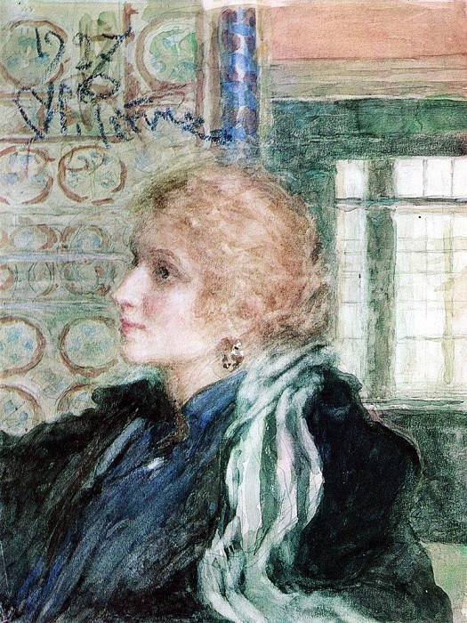 Портрет, нарисованный Репиным в 1925 году с нуля, не вызывает подозрений в цветонарушениях.