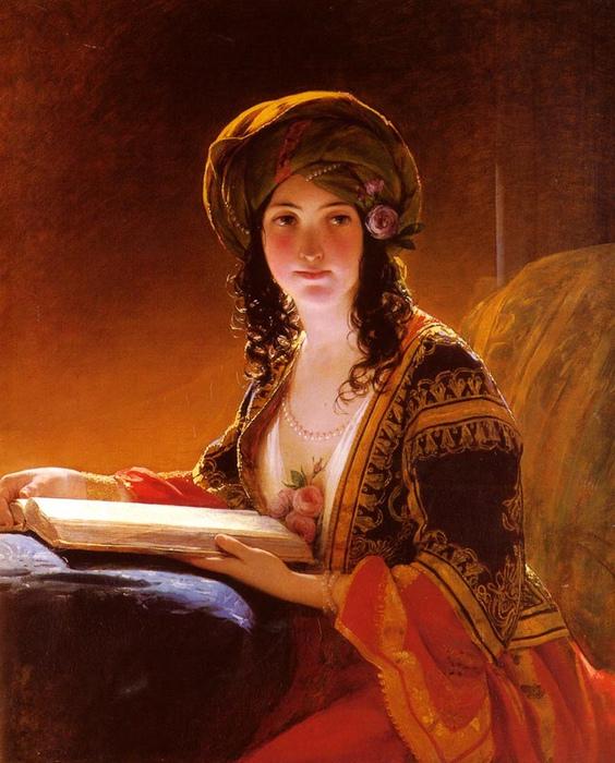 От кайны требовалась начитанность на грани учёности. Но уважать её за образованность никто не собирался. Картина Ф. фон Амерлинга.