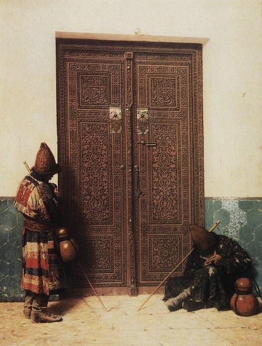 Художник Василий Верещагин был реалистом, но в этой картине словно использует традиционный образ поэзии суфиев: ищущий истину стоит перед закрытыми дверями.