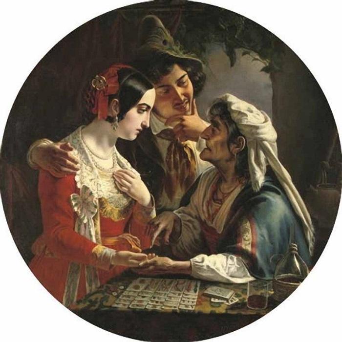 Цыганки Западной Европы раскладывали Таро. Картина Микеланджело Скотти.