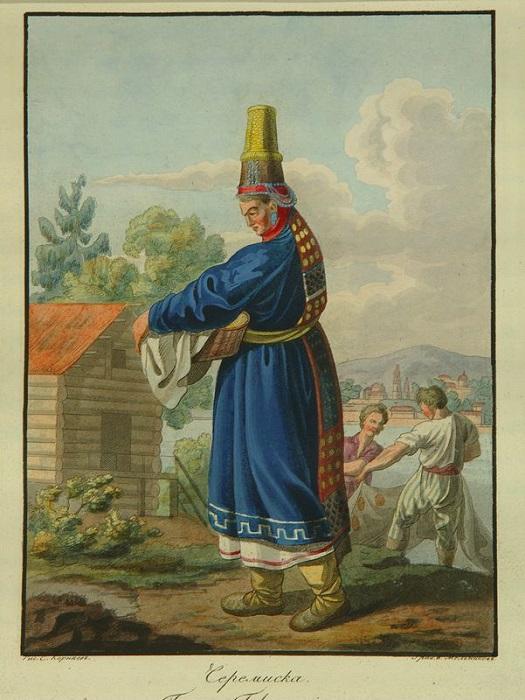 Марийская женщина, рисунок XIX века.