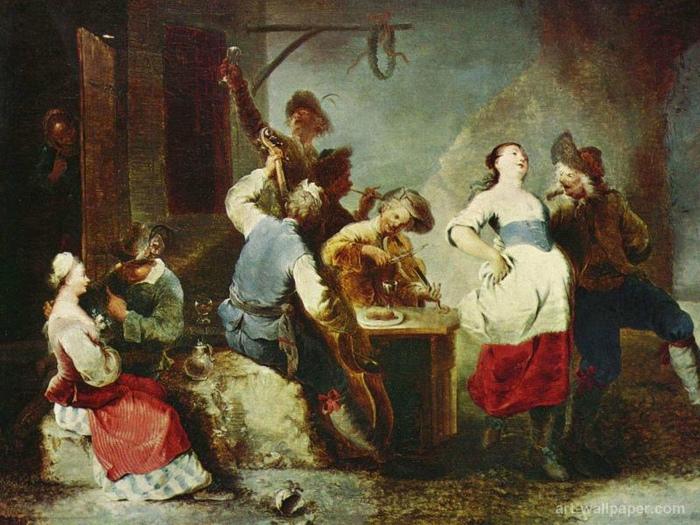 Угощать яблочком полагалось на танцах. Картина Януария Цика.