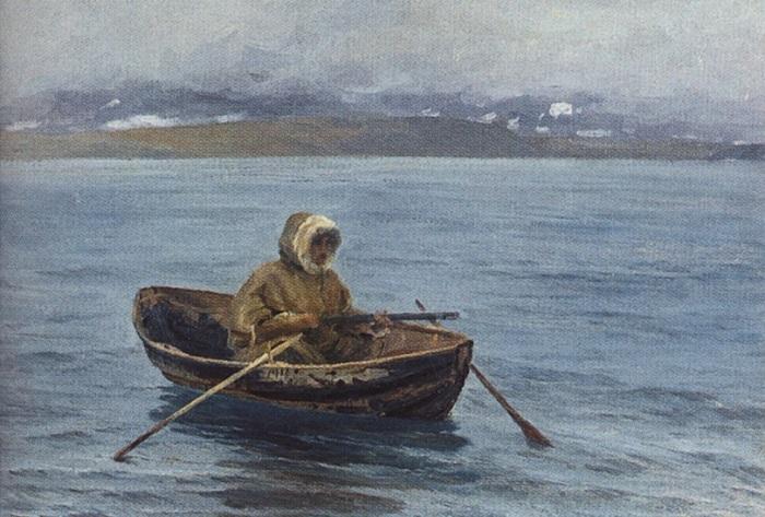 Кроме поморов, финнов и норвежцев, на мурманском берегу жили и охотились ненцы. Художник Александр Борисов.