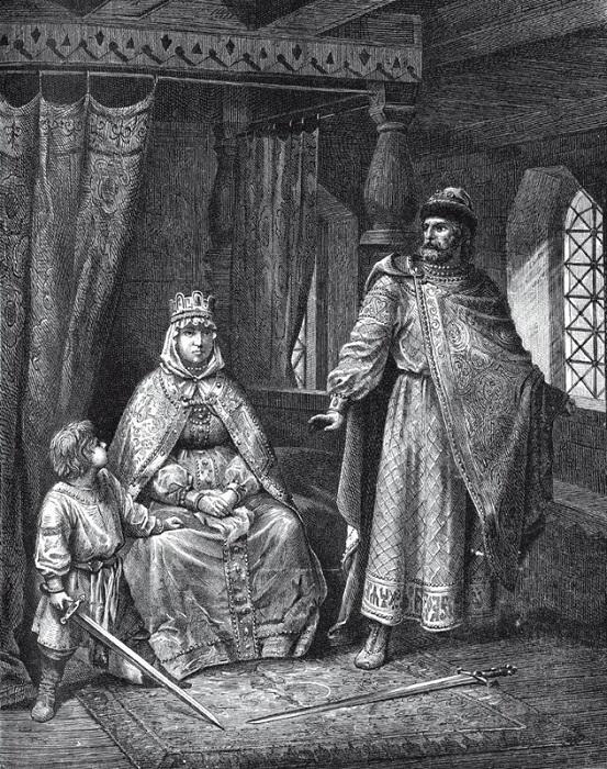 Изяслав защищает мать от Владимира. На самом деле, поскольку князь только что ночевал в постели Рогнеды, они оба должны быть одеты совсем не так плотно.