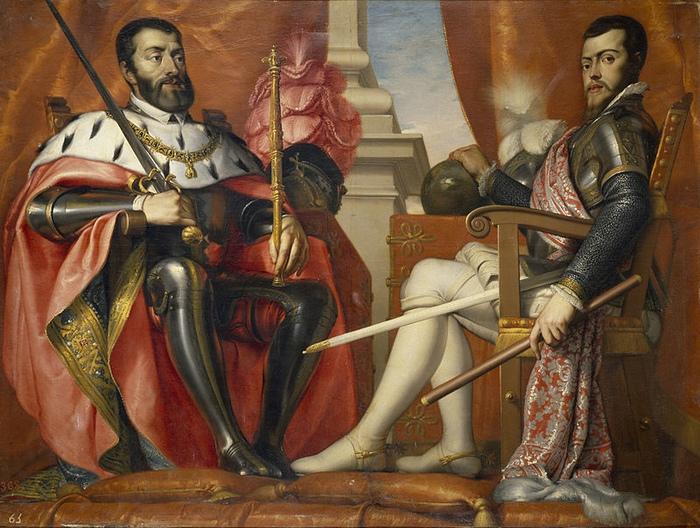 Карл V и его сын Филипп. Портрет работы Антонио Ариаса Фернандеса.