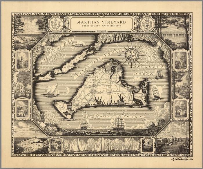 Карта острова Мартас-Винъярд.