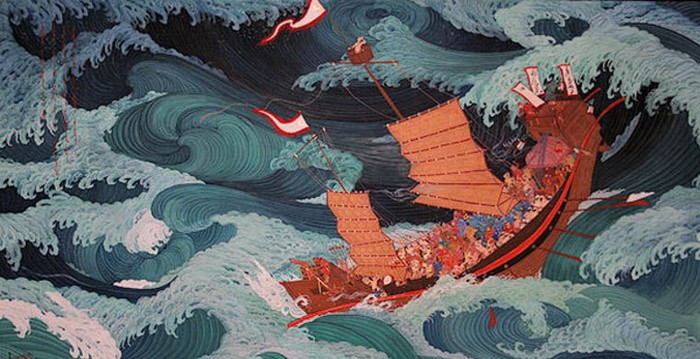 Японцам повезло: изломанный корабль остался на плаву.