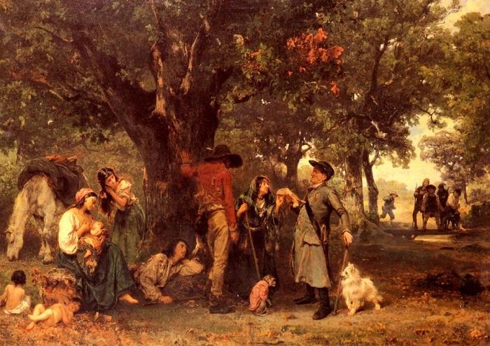 Картина Людвига Кнауса «Проверка документов». Справа вдалеке можно увидеть крестьян с палками, которые готовы напасть на «людоедов», если полицейский заметит что-то подозрительное.