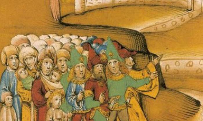 Цыгане, средневековая миниатюра. Жёлтыми изображали на рисунке волосы положительным персонажам. Согласно тексту, волосы у цыган были чёрные