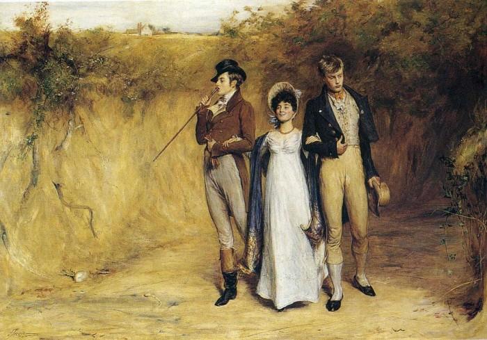 Эта девушка ведёт себя не очень прилично: держится за руку одновременно с двумя кавалерами. Картина Йона Петти.