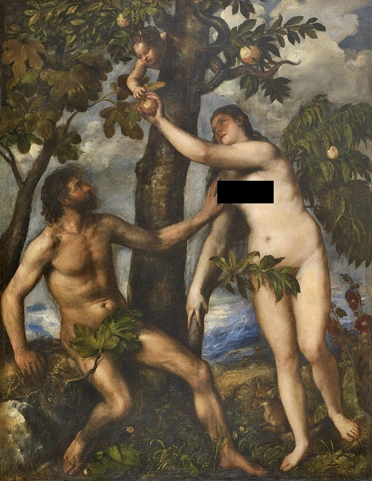 В наш век развитой реставрации выяснилось, что далеко не на каждом полотне фиговые листочки были нарисованы с самого начала. В век интернета стоит ещё добавить, что в оригинале не было никаких чёрных квадратиков. Картина Тициана.