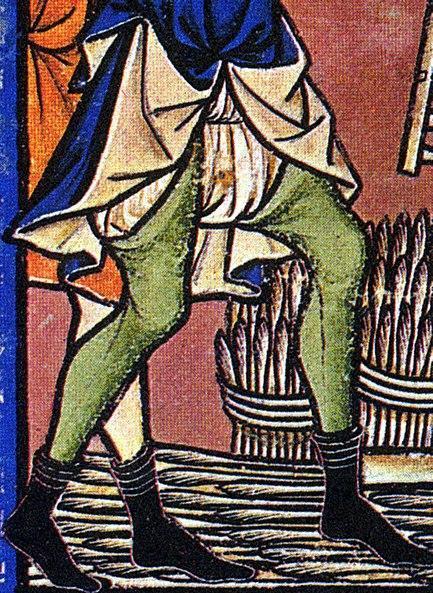 Фрагмент средневековой миниатюры, на котором хорошо видны бре и шоссы (чулки).