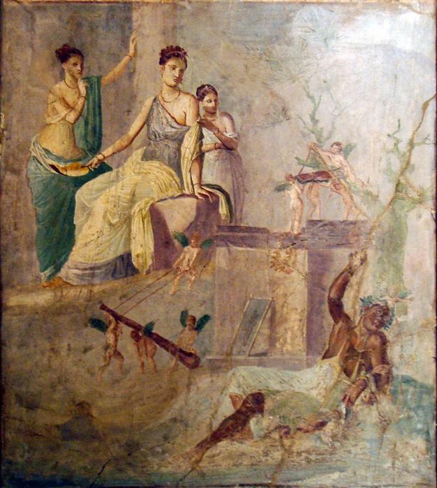 Римляне учились живописи у греков. Фреска с изображением Геракла и царицы амазонок.