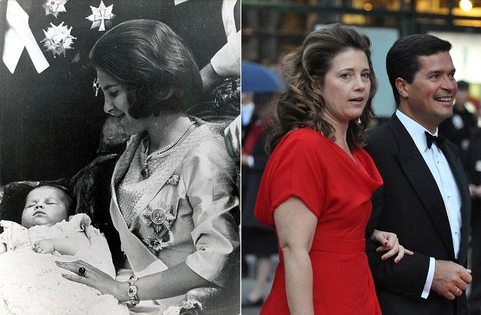 Принцесса Алексия на руках у матери и под руку со своим мужем.