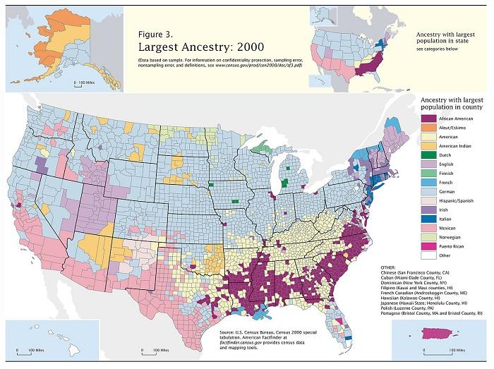На этой карте голубым окрашены области в США, в которых население германского происхождения является большинством.