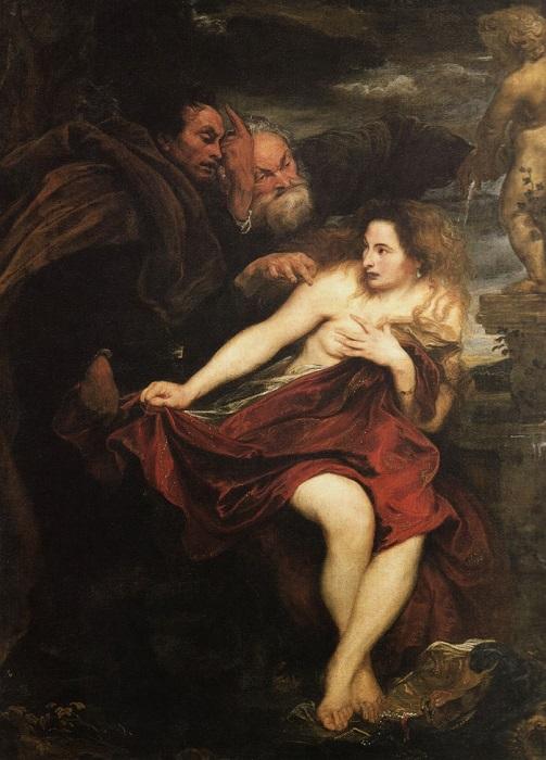 Одно из немногих изображений Сусанны, где художник не открывает её грудь. Картина Антониса ван Дейка.