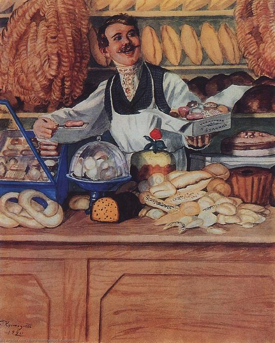 Калачи в булочной, запечатлённые Борисом Кустодиевым.