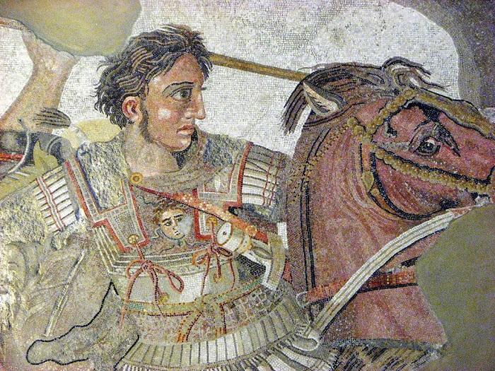 На этой фреске Александр Македонский далеко не блондин.