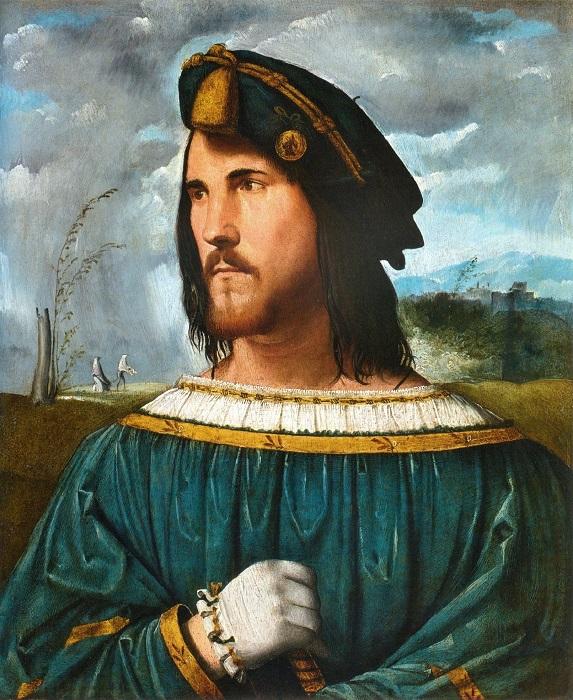 На этой картине Альтобелло Мелоне, как считается, изображён Цезарь Борджиа.