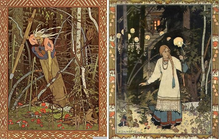 Иллюстрации Ивана Билибина. Василиса идёт от Бабы Яги с волшебным оружием в руке.