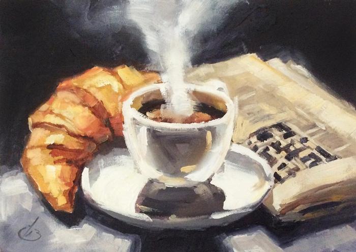 Традиционным французским завтраком считают круассан и кофе. Впрочем, у кофе тоже происхождение не французское. Художник Том Браун.