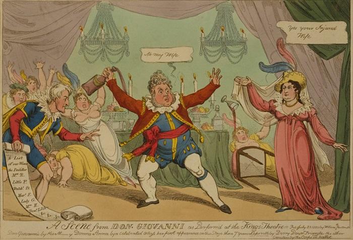 Карикатура на Георга, не ожидавшего приезда Каролины.
