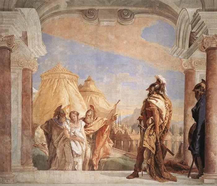 Агамемнону ведут Брисеиду. Картина Джованни Батисты Тьепполы.