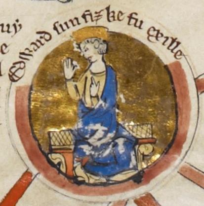 Миниатюра, изображающая Эдуарда Изгнанника.