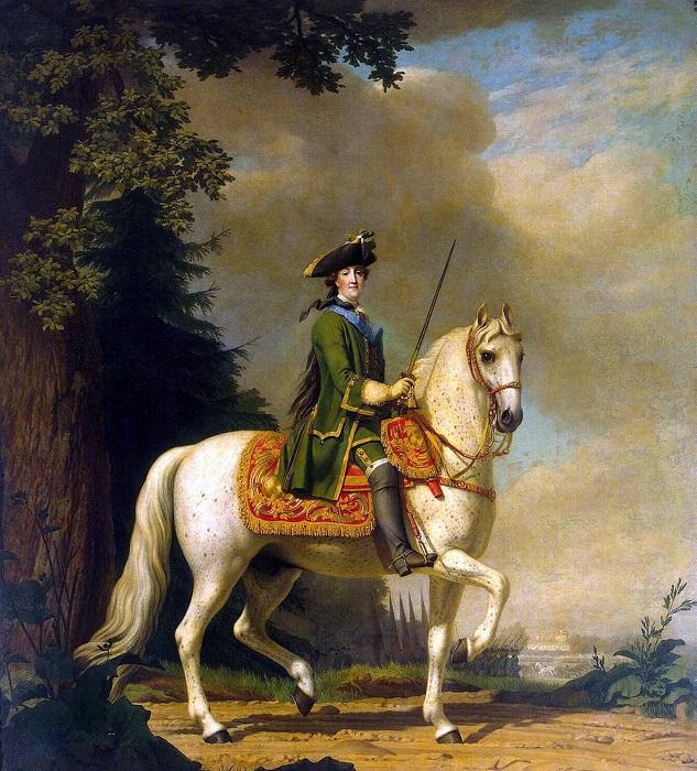 В брюках на коне явно удобнее, но в восемнадцатом веке эта мысль казалось странной.